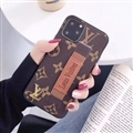 Metal Monogram Skin LV Leather Back Covers Holster Cases For iPhone 11 Pro Max - Brown