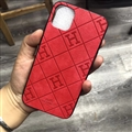 Unique Lattice Hermes Genuine Leather Back Covers Holster Cases For iPhone 11 Pro Max - Red