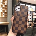 Unique Lattice Skin LV Leather Back Covers Holster Cases For iPhone 11 Pro Max - Brown