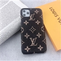 Unique Monogram Skin LV Leather Back Shell Holster Cases For iPhone 11 Pro Max - Black