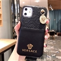 Versace Metal Strap Flip Leather Cases Ribbon Back Holster Cover For iPhone 11 Pro Max - Black