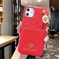 Versace Metal Strap Flip Leather Cases Ribbon Back Holster Cover For iPhone 11 Pro Max - Red