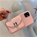 Chain Female Bvlgari Fashion Leather Back Covers Holster Cases For iPhone 11 - Pink
