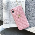 Classic Lattices Chanel Leather Hanging Rope Covers Soft Cases For iPhone 11 - Pink