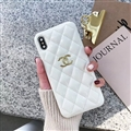 Classic Lattices Chanel Leather Hanging Rope Covers Soft Cases For iPhone 11 - White