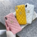 Classic Lattices Chanel Leather Hanging Rope Covers Soft Cases For iPhone 11 - Yellow