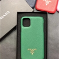 Classic Shell Prada Protective Leather Back Covers Holster Cases For iPhone 11 - Green