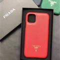 Classic Shell Prada Protective Leather Back Covers Holster Cases For iPhone 11 - Red