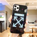 Off-White Mirror Surface Glass Cases Shell For iPhone 11 Silicone Soft Covers - White