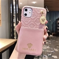 Versace Metal Strap Flip Leather Cases Ribbon Back Holster Cover For iPhone 11 - Pink