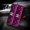 2pcs Chanel Car Safety Seat Belt Covers Women Diamonds Pretty Plush Shoulder Pads - Purple