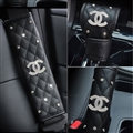 4pcs Chanel Car Safety Seat Belt Cover + Gear Cover + Handbrake Grips Women Diamonds Leather - Black