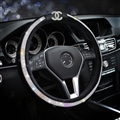 Bling Chanel Diamond PU Leather Auto Car Steering Wheel Covers 15 inch 38CM - Black