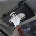 Chanel Diamonds Leather Automotive Tissue Paper Box Holder Case Sun Visor Hanging Tissue Bag - Black