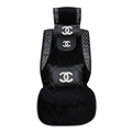 Chanel Plush Car Seat Covers Cool Rivet Universal Auto Cushion Black Front Cover - 1pcs