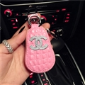 Gourd Chanel Automobile Genuine Leather Wallet Car Key Cover Case AirPods Bags - Pink