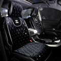 Luxury Diamond Chanel Universal Automobile Velvet Car Seat Cover Cushion Black Sets - 5pcs