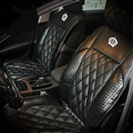 Luxury Diamond Crown Universal Automobile Leather Car Seat Cover Cushion 10pcs Sets - Black