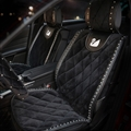 Luxury Diamond Swan Universal Auto Velvet Car Seat Cover Cushion 5pcs Sets - Black
