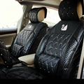 Swarovski Crystal Swan Universal Automobile Leather Car Seat Cover Cushion 10pcs Sets - Black