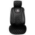 Swarovski Diamond Chanel Universal Automobile Leather Car Seat Cover Cushion 1pcs Front - Black