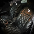 Swarovski Diamond Swan Universal Automobile Leather Car Seat Cover Cushion 10pcs Sets - Black