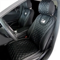 Swarovski Diamond Swan Universal Automobile Leather Car Seat Cover Cushion 2pcs Front - Black